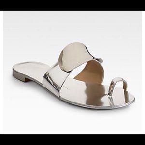 Giuseppe Zanotti silver metallic toe ring sandals